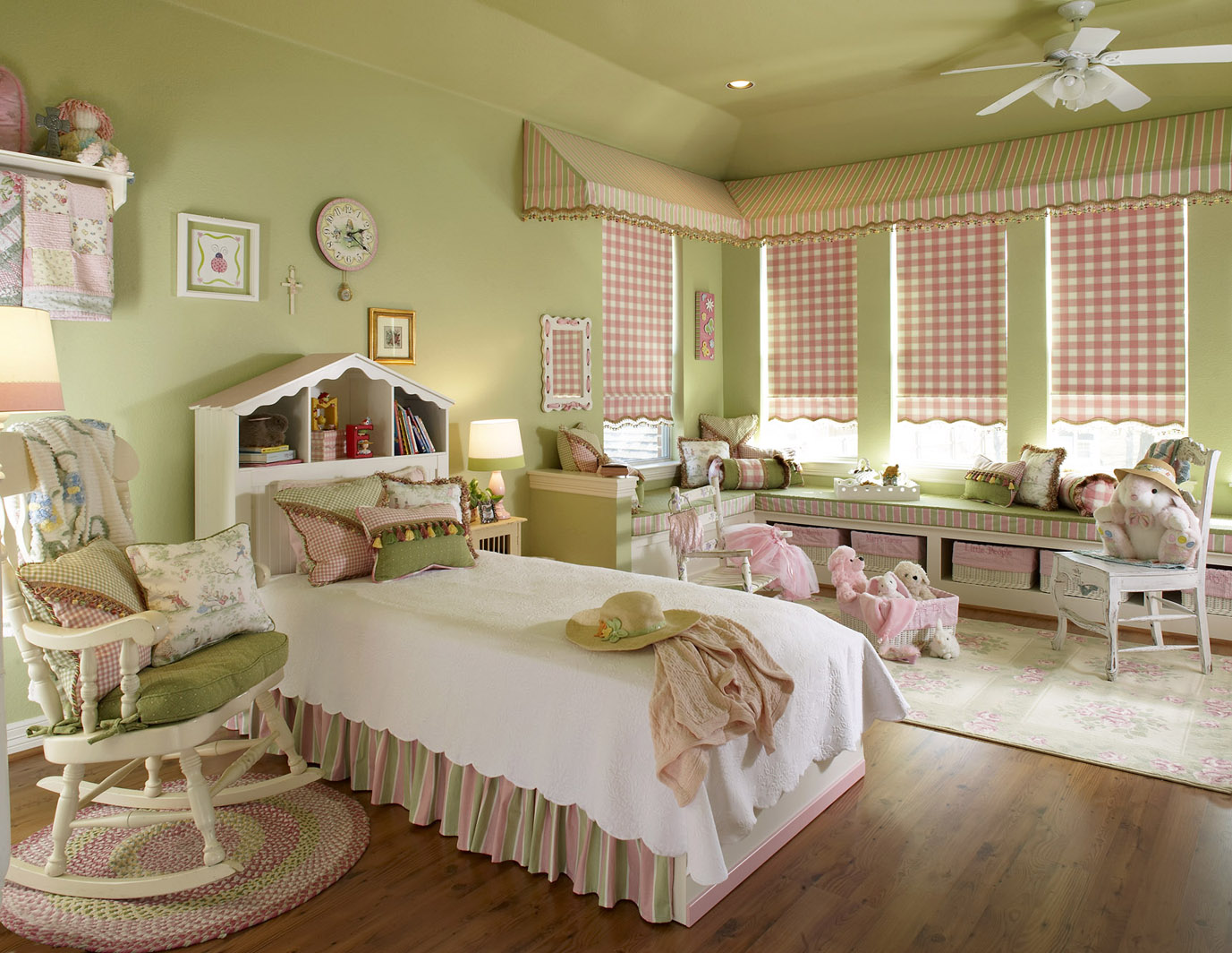 Kids playroom canopy - This Soft Color Palette Is Calming And Pleasing To The Eye In This Wonderful Girl S Room A Canopy Valance Calls Attention To These Unique Corner Windows