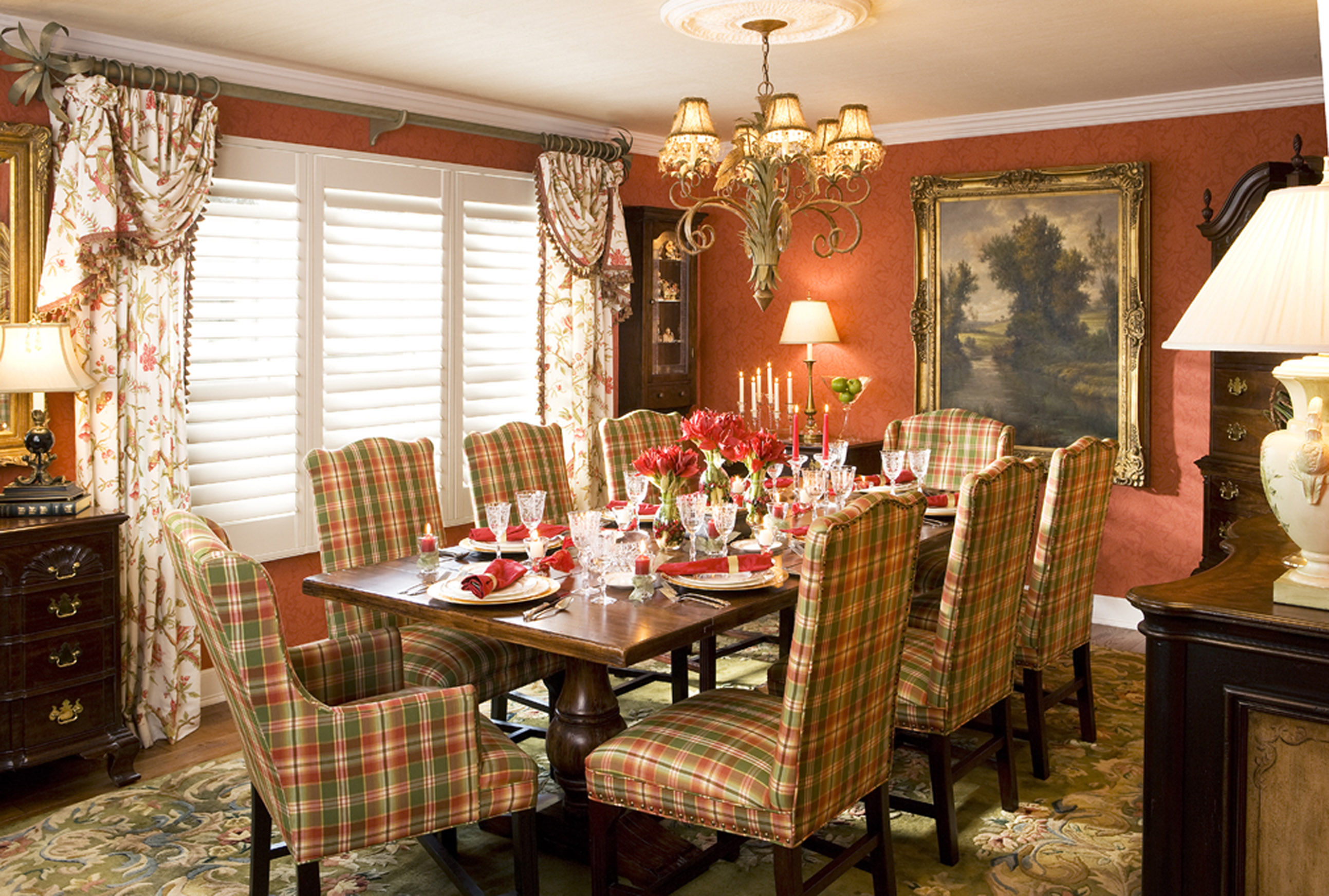 Dining in style decorating den interiors for Dining room window treatments